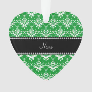 Personalized name green white damask
