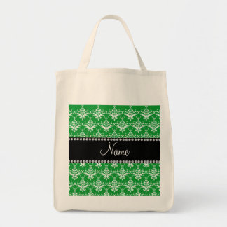 Personalized name green white damask bags