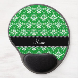 Personalized name green white damask gel mouse pad