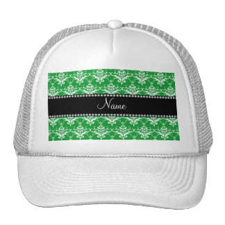 Personalized name green white damask trucker hat
