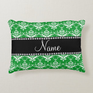Personalized name green white damask accent pillow