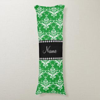 Personalized name green white damask body pillow