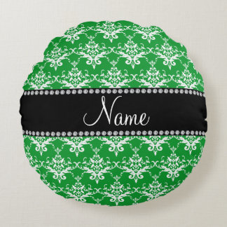Personalized name green white damask round pillow