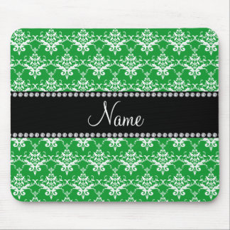 Personalized name green white damask mouse pad
