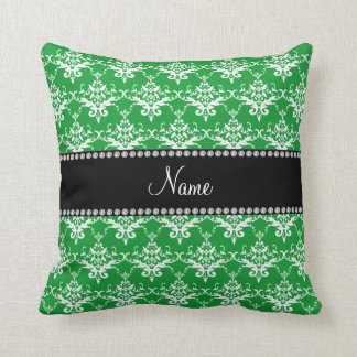 Personalized name green white damask throw pillow