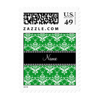 Personalized name green white damask stamp