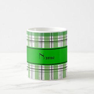 Personalized name green white plaid mugs