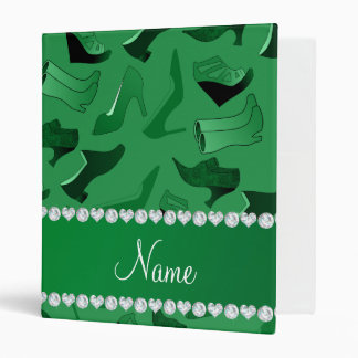 Personalized name green women's shoes pattern binder