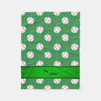 Personalized name green wooden bats baseballs fleece blanket