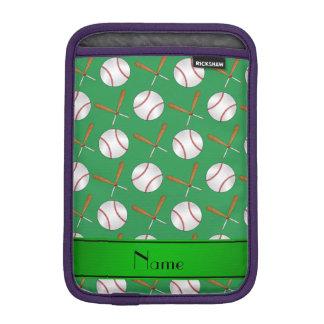Personalized name green wooden bats baseballs iPad mini sleeve