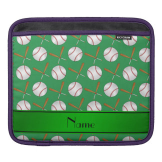 Personalized name green wooden bats baseballs sleeves for iPads