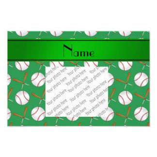 Personalized name green wooden bats baseballs photo print
