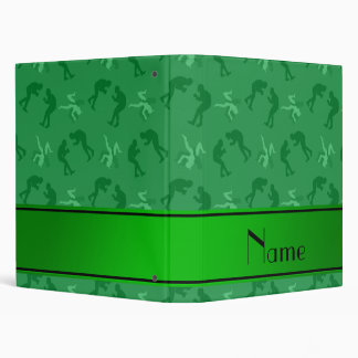 Personalized name green wrestlers 3 ring binder