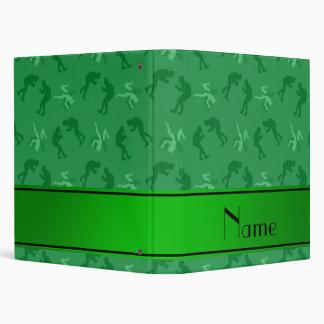 Personalized name green wrestlers binders
