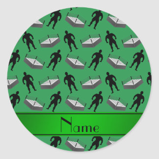 Personalized name green wrestlers ring classic round sticker
