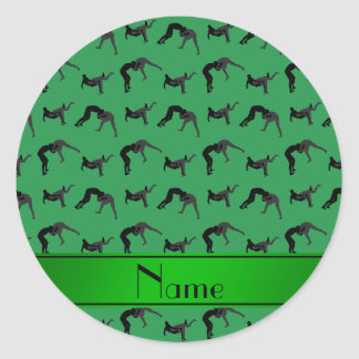 Personalized name green wrestling silhouettes classic round sticker