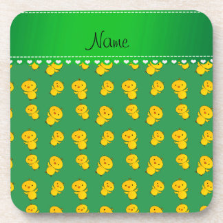 Personalized name green yellow chicks beverage coasters
