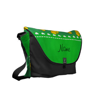 Personalized name green yellow chicks courier bag