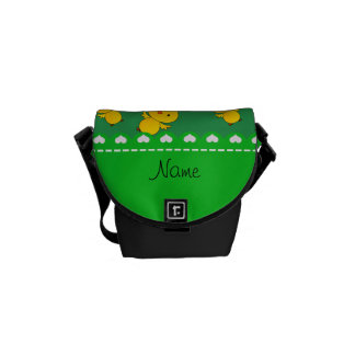 Personalized name green yellow chicks messenger bags