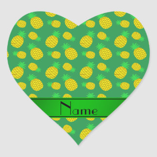 Personalized name green yellow pineapples heart sticker