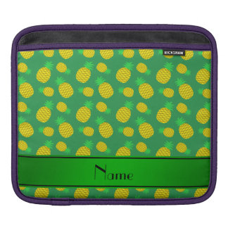 Personalized name green yellow pineapples sleeves for iPads
