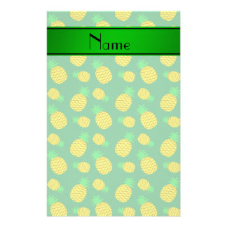 Personalized name green yellow pineapples stationery design