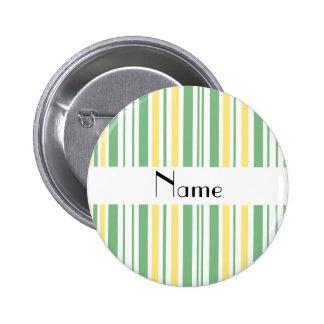Personalized name green yellow white stripes button