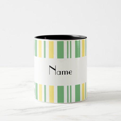 Personalized name green yellow white stripes coffee mugs