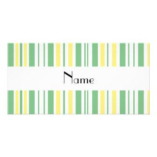 Personalized name green yellow white stripes photo card