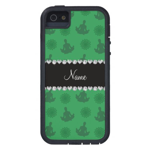 Personalized name green yoga pattern cover for iPhone 5
