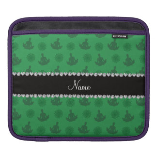 Personalized name green yoga pattern iPad sleeves
