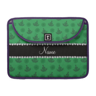 Personalized name green yoga pattern sleeve for MacBooks