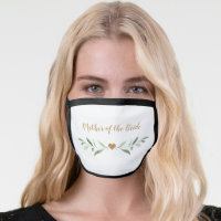 Personalized name greenery mother of the bride face mask