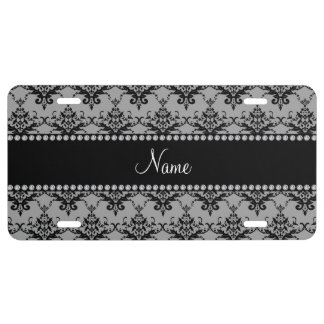 Personalized name Grey black damask License Plate