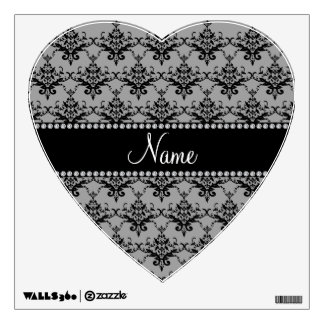 Personalized name Grey black damask Room Stickers