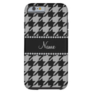 Personalized name grey black houndstooth tough iPhone 6 case