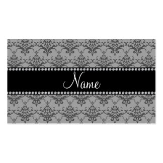 Personalized name Grey damask Business Card