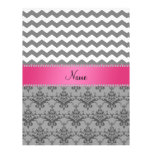 Personalized name Grey damask grey chevrons Letterhead Template