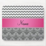 Personalized name Grey damask grey chevrons Mouse Pads