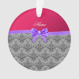 Personalized name grey damask pink purple bow