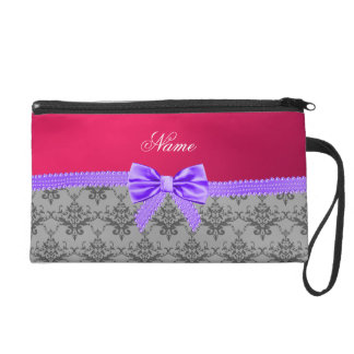 Personalized name grey damask pink purple bow wristlet clutches