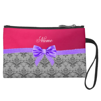Personalized name grey damask pink purple bow wristlet clutch