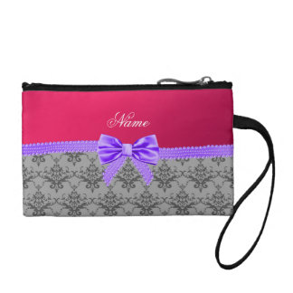 Personalized name grey damask pink purple bow change purses