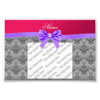 Personalized name grey damask pink purple bow photo print