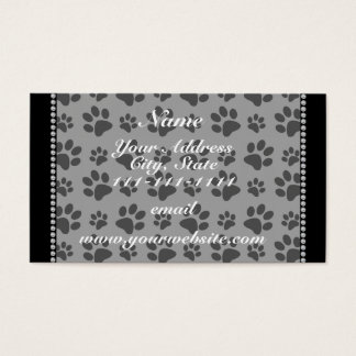 Personalized name grey dog paw prints business card