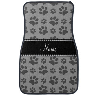 Personalized name grey dog paw prints car floor mat
