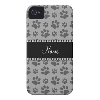 Personalized name grey dog paw prints iPhone 4 covers
