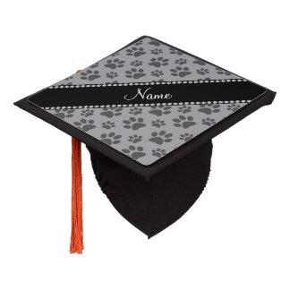 Personalized name grey dog paw prints graduation cap topper