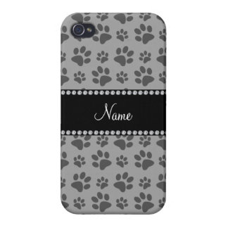 Personalized name grey dog paw prints iPhone 4/4S case
