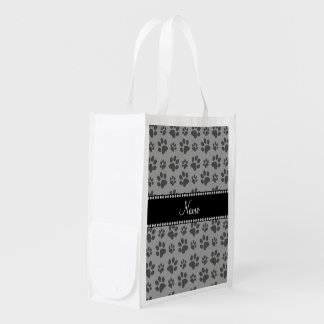 Personalized name grey dog paw prints reusable grocery bag